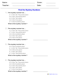 place value mystery number find the mystery number worksheets math number