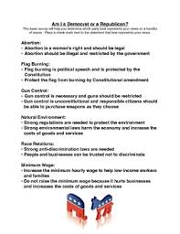 am i a democrat or a republican survey worksheet by of rock