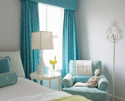 Blue And Yellow Curtains Prints Turquoise Girls Bedroom With Turquoise Cornice Box And Curtains