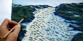apprendre à peindre un paysage au pastel sec chemin de bord de