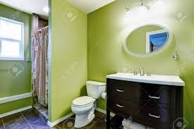 what color goes with brown bathroom cabinets bright green bathroom interior with brown bathroom vanity cabinet