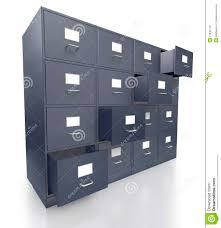 four grey office filing cabinets with open drawers royalty free