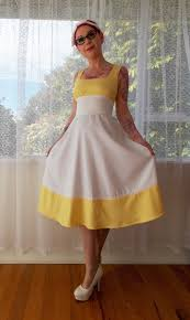 1950s pin up white sundress beth with yellow
