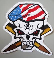 American Flag Skull 2018 Mc Embroidered Iron Patch American Flag Skull Hand Full Back