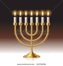 menorah candle holder hanukkah menorah candles isolated on background stock vector