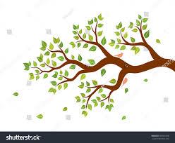 vector illustration tree branch green leaves stock vector