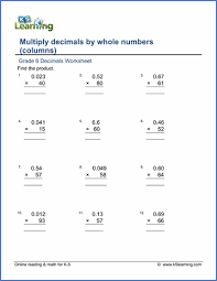 grade 6 multiplication of decimals worksheets free u0026 printable