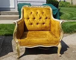 French Yellow Chair Velvet Chair Etsy