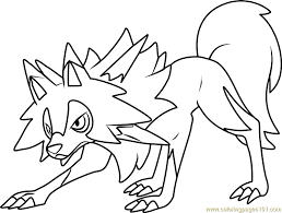 lycanroc midday form pokemon sun moon coloring free