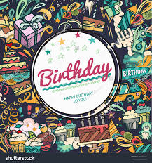 birthday background collage photo frame card stock vector