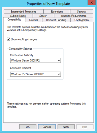 windows server 2012 certificate template versions and options