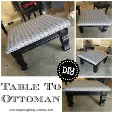 How To Make A Coffee Table Ottoman Diy Table To Ottoman And How To Paint Furniture Without Sanding