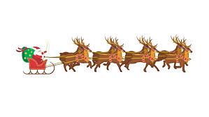 santa claus with galloping reindeer in loop stock footage