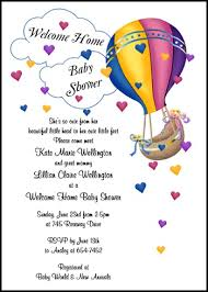 welcome home baby shower welcome home baby shower invite with hearts hot air balloon
