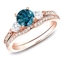 blue diamond wedding rings auriya 14k gold 1ct tdw blue diamond bridal ring set free
