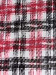 Light Cotton Fabric Red Black White Tartan Stretch Light Cotton Fabric
