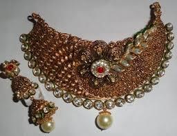 gold antique necklace set images Bridal antique gold kundan necklace set agarwal co jaipur jpg