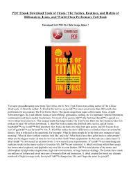 pdf ebook download tools of titans the tactics routines and habits u2026