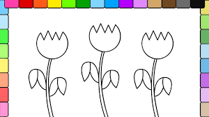 learn to color kids and color pretty tulip flowers coloring page