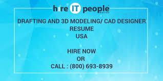 Cad Designer Resume Drafting And 3d Modeling Cad Designer Resume Hire It People We