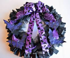 bat themed halloween rag wreath