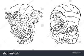hand drawn wave tattoo designbackground japanese stock vector