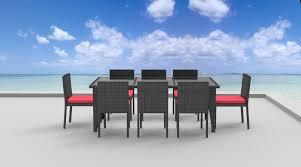 9 piece wicker outdoor patio dining set gray wicker coral red