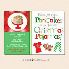 pancakes and christmas pajamas holiday party invitation