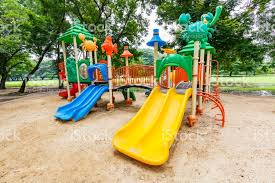 colorful playground on yard in the park stock photo more pictures
