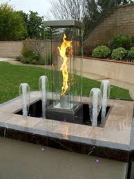 Fire Pit With Water Feature - custom outdoor stainless steel fire and water fountain features