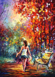 barefooted stroll palette knife oil painting on canvas by leonid