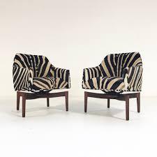 jens risom walnut base swivel chairs in zebra hide pair u2013 forsyth