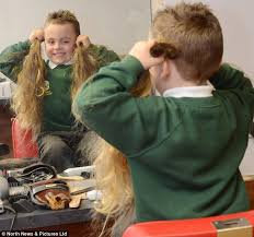 haircut for 5 year old boys rean carter has had his first hair cut five years after being