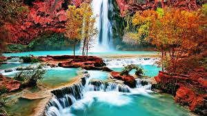 beautiful nature wallpaper with waterfall in autumn forest hd