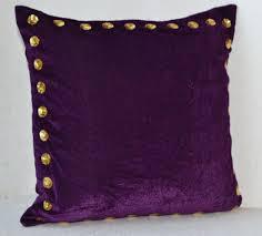 Decorative Pillow Purple Velvet Gold Sequin Cushion 16X16 Throw