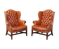 brass tacked tufted leather high back wing chairs u2013 danish modern l a