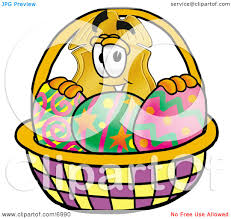 clipart picture of a badge mascot cartoon character in an easter