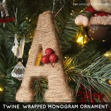 twine wrapped monogram ornament tutorial becoming martha