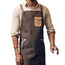 Personalized Kitchen Aprons Leather Strap Custom Denim Apron For Barbershop Hairdresser