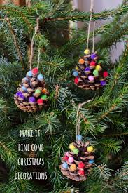 homemade christmas decorations pom pom pine cones growing family
