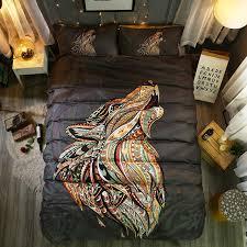 tattoo bedding queen wolf mandala queen size duvet cover set howling wolf head indian