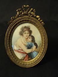 Gilt Bonze Enameled Portrait Signed Antique Painted Miniature Portrait Gilt Bronze Frame
