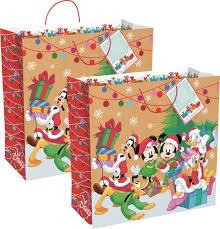 christmas gift bags set of 2 jumbo disney christmas gift bags 17 5 x 17 5 mickey