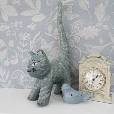 decoupage cat decorated in duck egg blue