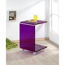 C Shaped End Table Pure Decor Acrylic C Shape Accent Table