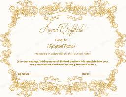 m word award certificate template