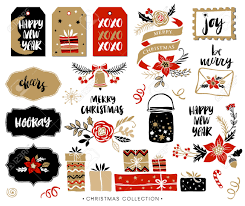 christmas hand drawn design elements with calligraphy handwritten