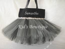 monogrammed silver and black tutu tote bag halloween witch
