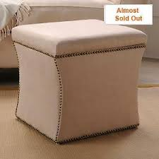 square ivory nailhead upholstered storage ottoman