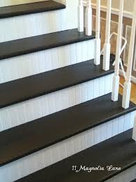 stair redo with painted treads and beadboard risers stair redo